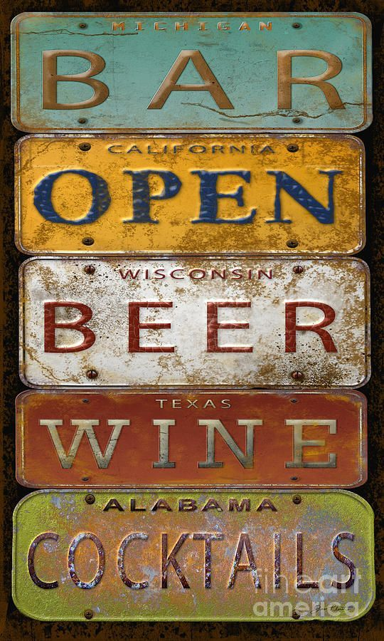 Bar Openlicense Plate Art by Jean Plout Canvas