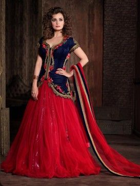 Red with Blue Heavy Embroidered Anarkali Lehenga