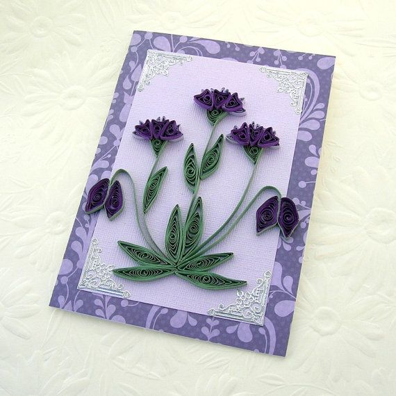 Quilled flower - Paper Quilling Greeting Card Paper Quilled  by EnchantedQuilling, $7.00