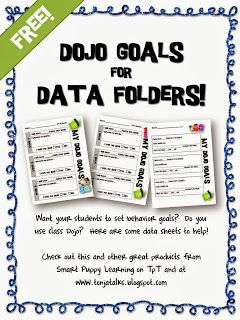 One teachers use of Class Dojo and her FREE Data folder goal setting sheets!