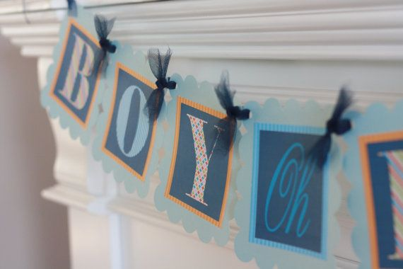 "Navy, Light Blue and Orange Baby Shower ""Boy Oh Boy"" Banner - Ask About our Party Pack Special"