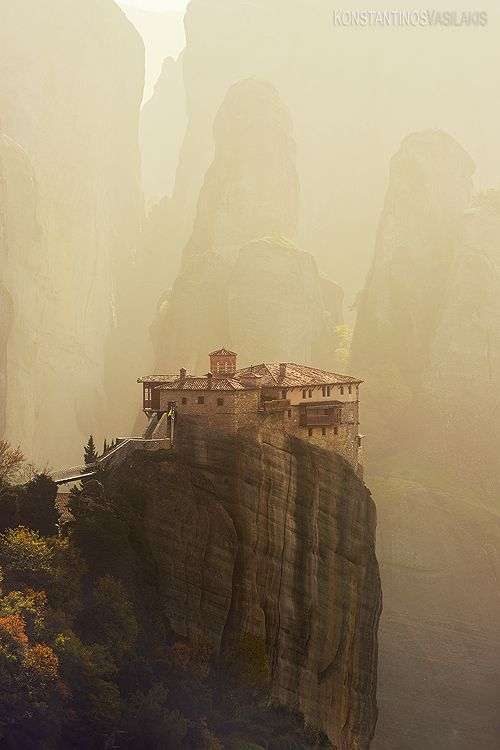 GREECE  ~Meteora Monasteries~   The Meteora Monasteries perch like eagles on top of sandstone pillars as much as 400m high in Thessaly's Pindus mountains. Hermit monks fleeing the Turks built the first of 24 monasteries here in the eleventh century.