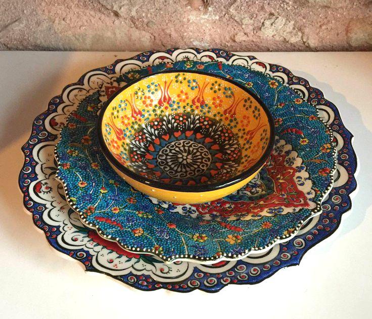 TURKISH CERAMIC DINNERWARE SET FOR ONE & 138 best TURKISH CERAMIC PLATES IZNIK CERAMIC PLATES BOHO HOME ...