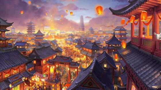 Asian fantasy art, digital illustrations and character studies. Amazing matte paintings 蘑菇版手绘古风场景 (宫灯夜明昙华正盛)