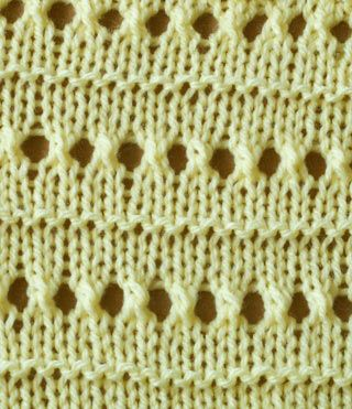 Knitting Stitches Eyelet Lace : eyelet stitch where you want the holes yarn over then knit 2 together. 05. ...