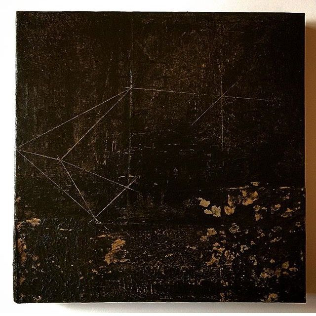 Nowhere // 2017 #encaustic #prospective #geometricpainting #waxpainting #recyclingart #recyclingpaper #abstractpainting #mystudiotoday #painting #landscape #collageart #inkdrawing #nowhereland #impossiblegeometry #wasteland #papercollageart #bitumen #distopian