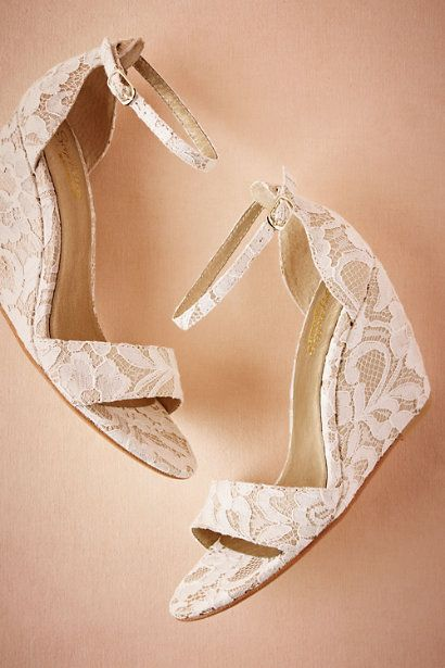 BHLDN Phoebe Lace Wedges  in  Bride Bridal Shoes at BHLDN