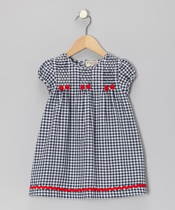 Navy & White Gingham Shirred Dress - Infant & Toddler