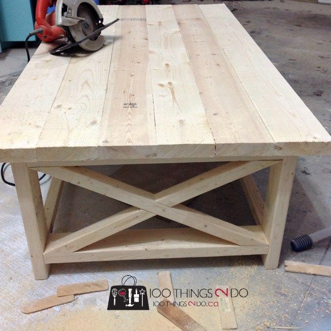 Rustic Storage Coffee Table Diy: DIY Coffee Table - Rustic X