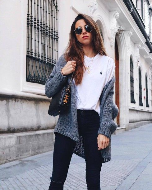 Cardigan Tumblr Grey T Shirt White Denim Jeans Black Skinny