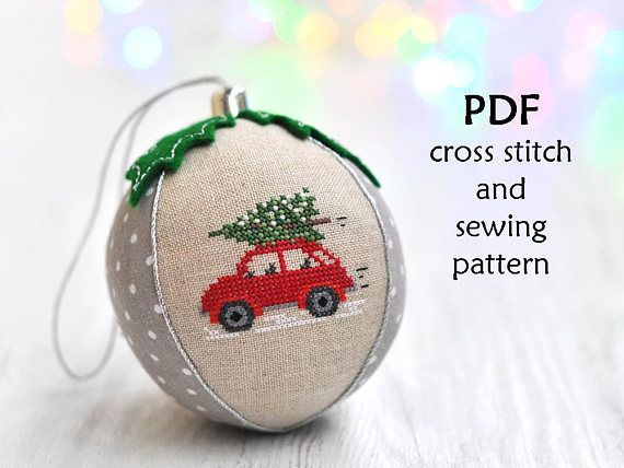 This listing is for a digital Christmas cross stitch and sewing pattern on making a cross stitch Christmas ornament, NOT the finished product. The finished cross stitch bauble shown in the photos is for demonstration purposes only.  ✄✄✄✄✄✄✄✄✄✄✄✄✄✄✄✄✄✄✄✄✄✄✄✄  This modern cross stitch ornament with Christmas red car is:  - beautiful to look - adorable keepsake for your Christmas tree - fun and easy to stitch Finished ornament is 3.5 / 9cm in diameter. !!! It is made using sewing machine. C...