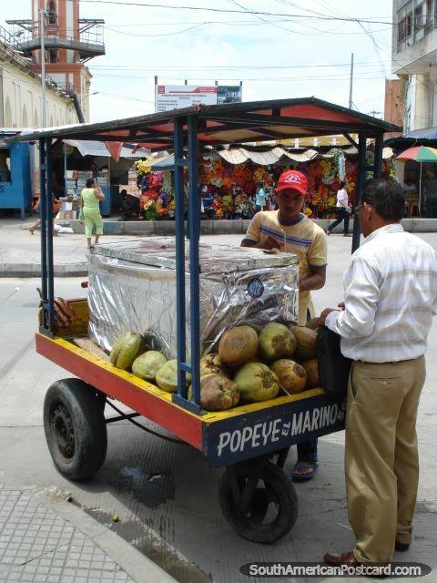 coconut juice vendor, Barranquilla, Colombia.