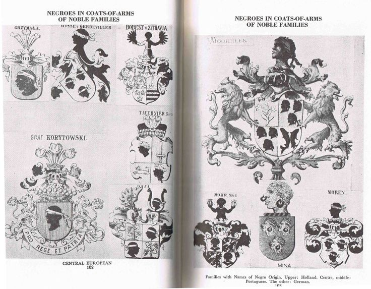 The Moors of Medieval Europe: coats of arms of European families, royalty and nobles. pg1