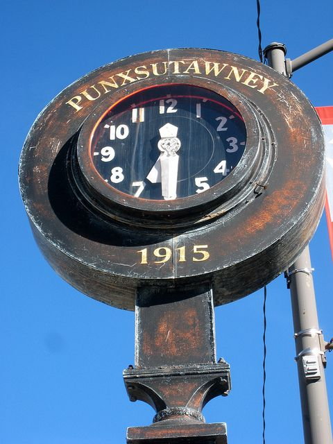 On Mahoning Street can be found this clock dated 1915.