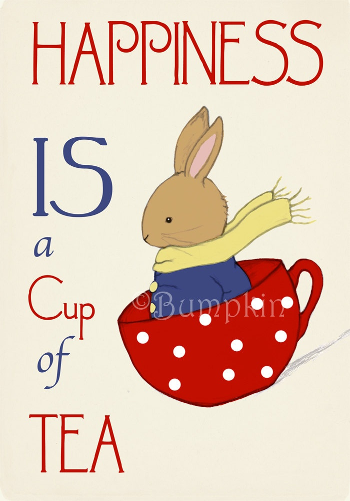 Happiness is a Cup of Tea Word Art & Illustration by Bumpkin