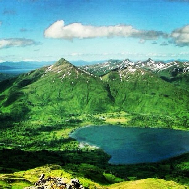 Buskin Lake, Kodiak, Alaska — by John Cannon. Buskin Lake from the top of Barometer, Pyramid behind the lake