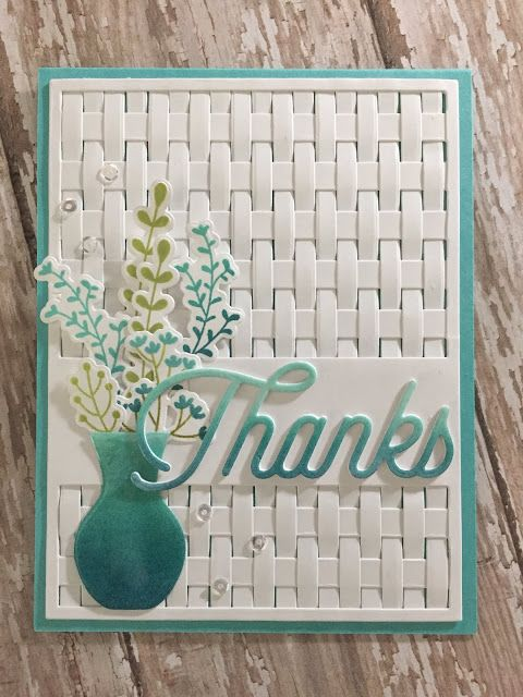 handmade thank you card from Crafting By Carol ... elaborate background with woven strips ... used a die that cut out rows and left the sentiment strip uncut ... luv the look of wide line one way and thinner lines the other ..