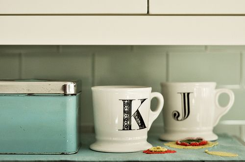 I guess these mugs should be at my house.: Dining Rooms, Kelly Rae Robert, Teas Cups, Color, Kitchens Accessories, Kids, Monograms, House M, Mugs