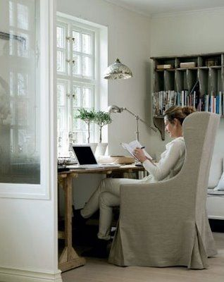 Home Office: trestle desk + slipcovered chair by Slettvoll