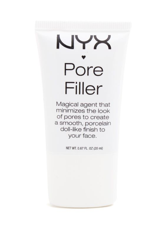 nyx pore filling primer: this stuff is magical. It makes the large pores on my cheeks disappear. It even minimizes a pox mark I have. *trick* I put this on over my large pores AFTER my foundation. It makes a huge difference rather than using it under and it just gets moved around!