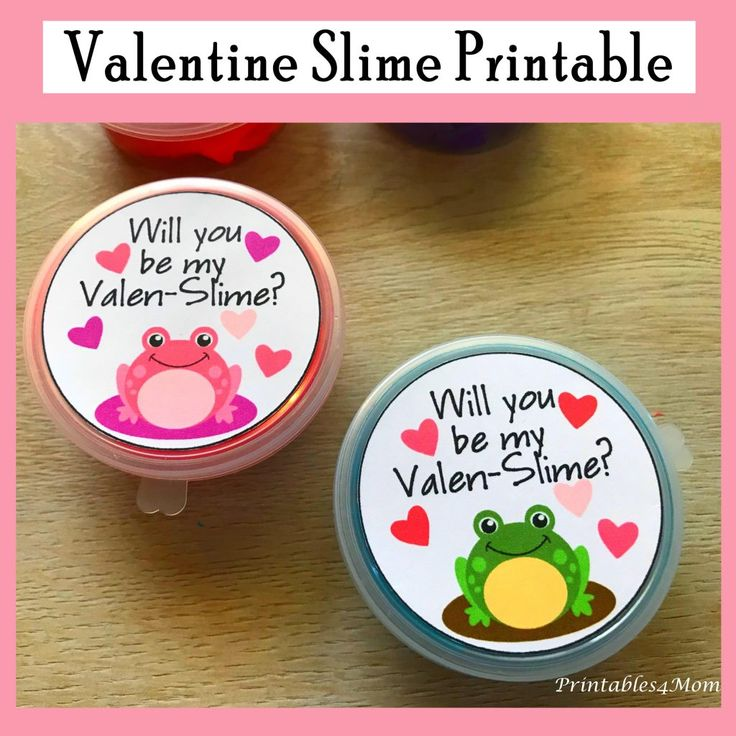 DIY Craft: DIY Slime Valentine's for kids! Free Printable. Will you be my Valen-Slime?