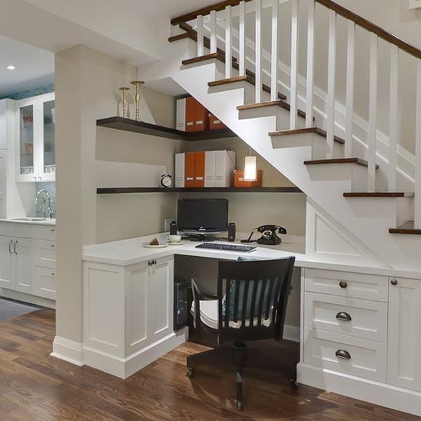 Space Saving Built In Office Furniture In Corners Personalizing Modern  Interior Design