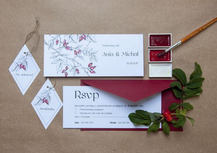 dzika róża, zaproszenia, ślub, miodunka, miodunka papeteria ślubna, wedding, invitations