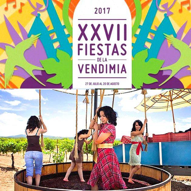 Fiestas de la Vendimia Fecha: 27 de julio al 20 de agosto Lugar: Valle de Guadalupe, Baja California  En el Valle de Guadalupe se ha ido consolidando como uno de los lugares más importantes en la producción de vino a nivel internacional, de hecho aquí se produce el 90% del vino de todo el país.