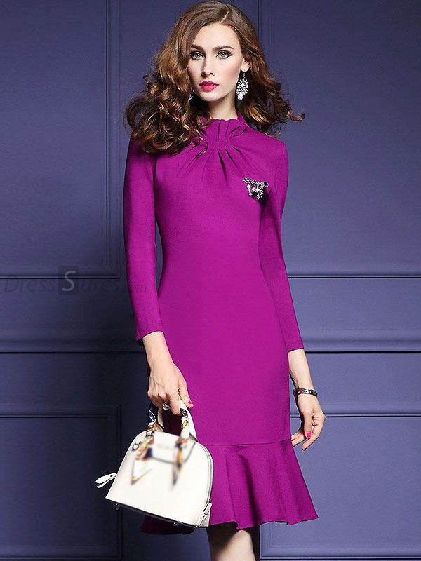 Buy Elegant Stand Collar Long Sleeve Falbala Mermaid Dress at DressSure.com Color:Purple; Size:S, M, L, XL, 2XL, 3XL; Material:Polyester, Cotton; Style:Work; Silhouette:Trumpet / Mermaid; Dresses Length:Knee-Length; Sleeve Length:Long Sleeve; Neckline:Stand Collar; Waistline:Empire; Decoration:None; Pattern Type:Solid; Characteristics:None; Season:Fall; Price: US$ 50.99