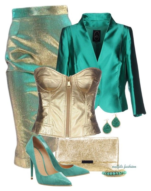 Gold corset by rosipolooyas on Polyvore featuring moda, Moschino Cheap & Chic, Ivan Montesi, Office, Loeffler Randall and Ettika