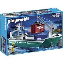 Playmobil - Cargo avec grue de chargement - 5253  - marque : Playmobil Attention, le cargo commence son chargement ! Grand cargo avec grue de chargement, trois personnages et deux conteneurs. La grue peut transporter les conteneurs de bas en haut et e... prix : 57.99 €  chez Toys R us #Playmobil #ToysRus
