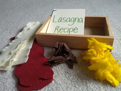 felt lasagna...and a recipe....@Ashlea Jordan have you started making felt food for Audra's play kitchen?  Wish we would have done some when we were there.  It's really fun to make! and the kids love it.