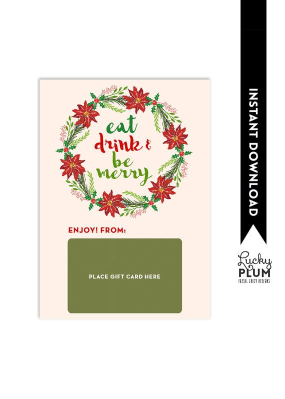 Restaurant Gift Card Holder / Eat Drink And Be by LuckyPlumStudio