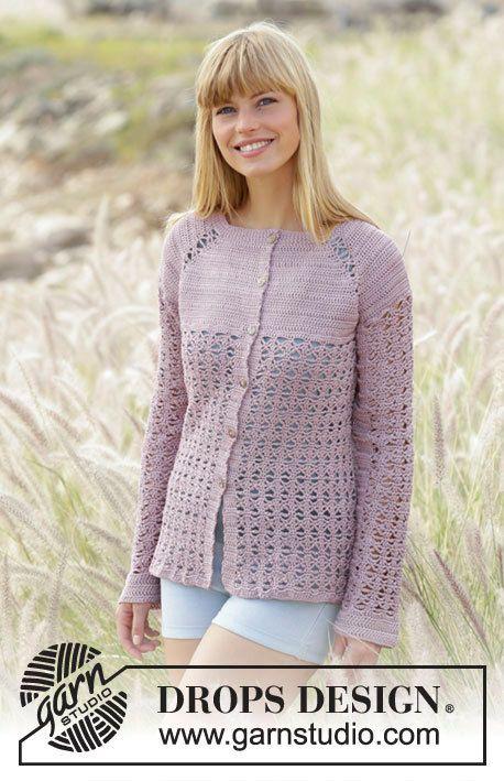 Crochet Sweet Indigo Cardigan Long Raglan Sleeve in Cotton Mix, Custom Order, Handmade by Silkwithasizzle on Etsy