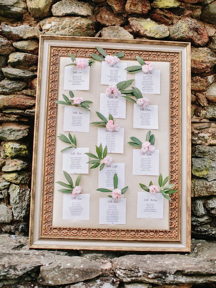 Framed Seating Chart with Flowers | photography by http://www.amyarrington.com