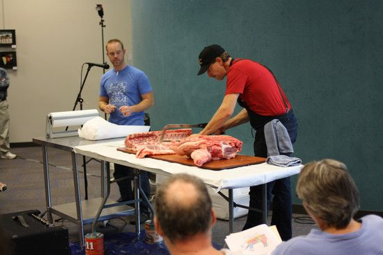 A hogbutchering demonstration at the Overland Park, Kan., library in November. Photo: John Helling/Johnson Public Library