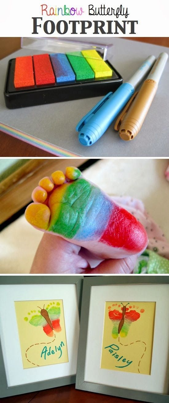 Stamp yo feet with this clever stamp pad of colors to create a little butterfly  art work from your own baby's  feet