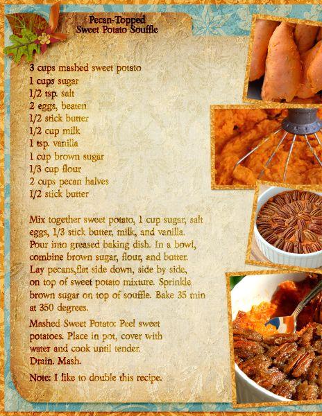 """Pecan-Topped Sweet Potato Souffle"" Digital Scrapbooking Layout by Brandie Valenzuela"