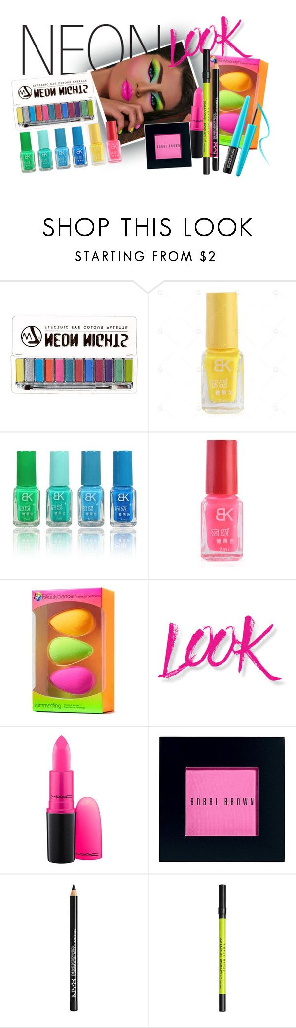 """""""Neon"""" by britishcandies ❤ liked on Polyvore featuring beauty, beautyblender, NYX, MAC Cosmetics, Bobbi Brown Cosmetics, Urban Decay and MAKE UP FOR EVER"""
