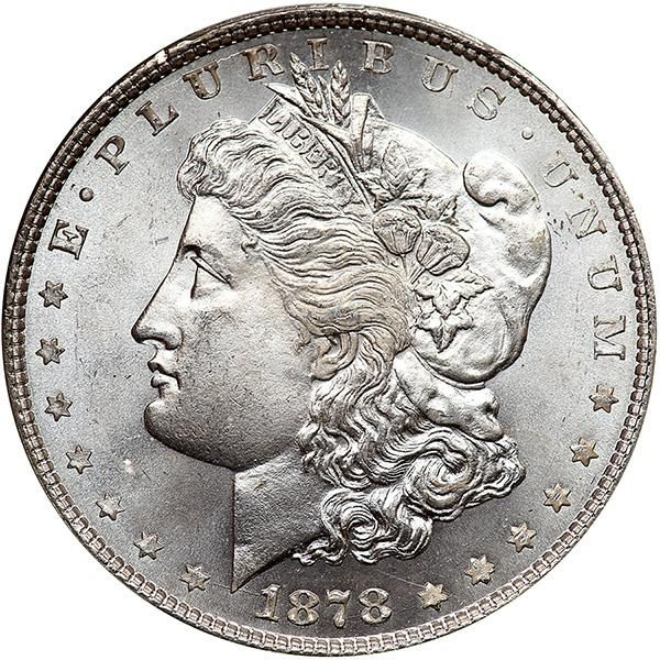 1878. 8 Tail Feathers One of the finest graded of this important variety, with just 42 that have earned this top end grade from PCGS, and importantly only 6 have been graded higher. Totally white and lustrous, with an excellent strike as well. Both surfaces are exceptionally clear of mentionable marks, abrasions, or spots so common to these heavy silver coins. A very high-end Gem example for the specialist. . Estimated Value $5,500 - 6,000. #Coins #US #Dollars #MADonC