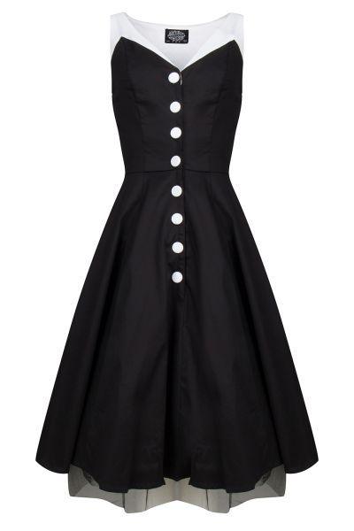 H&R London shirley dress black white zwart wit Direct leverbaar uit de webshop van www.ilovevintage.nl/