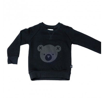 Hux Bear Fleece Sweater Black from Huxbaby's AW16 collection from Baby Dino.  www.babydino.com.au