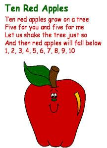 Ten red apples grow on a tree  Five for you and five for me  Let us shake the tree just so  And then red apples will fall below  1, 2, 3, 4, 5, 6, 7, 8, 9, 10