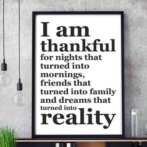 I Am Thankful For… Inspirerande och motiverande typografisk design. 50x70 cm stor poster.