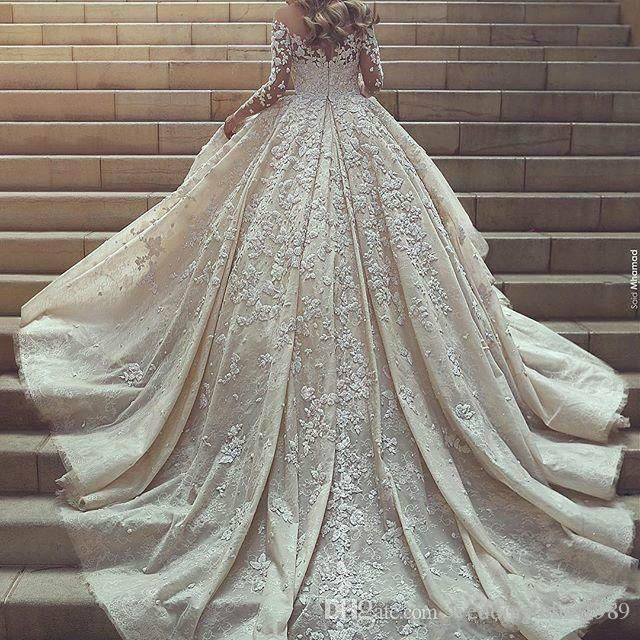 Discount Luxury Saudi Arabia Dubai Wedding Dresses Lace Illusion