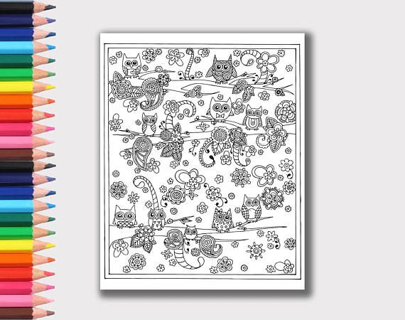 owl coloring page detailed adult and kid friendly cute owl coloring page instant digital download printable coloring page owls