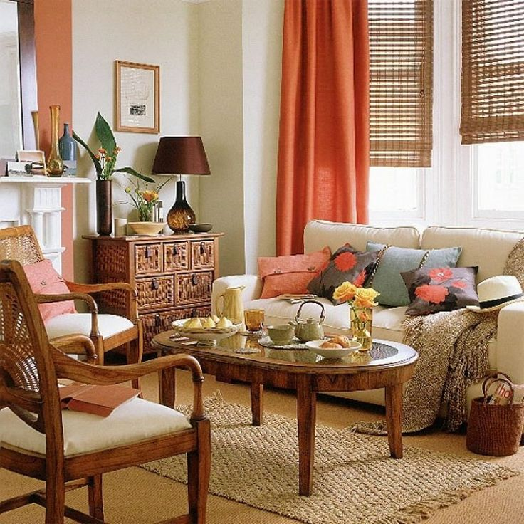 Superior Living Room With Orange Curtain And Cream Sofa Part 17
