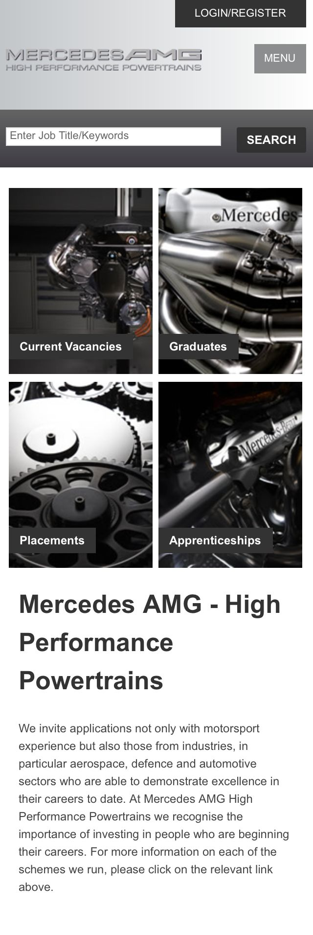 Mercedes-AMG mobile responsive careers site
