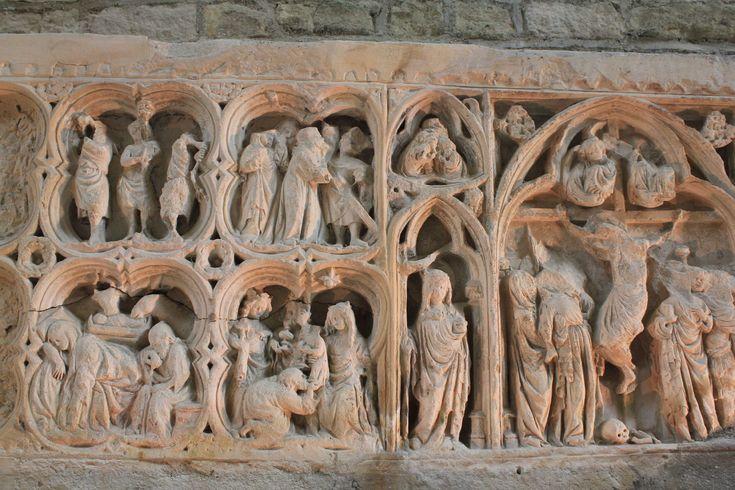 """Temas bíblicos Abadía Cisterciense de Fontenay"", Autor desconocido, Escultura en relieve, 1119, Románico, Francia"
