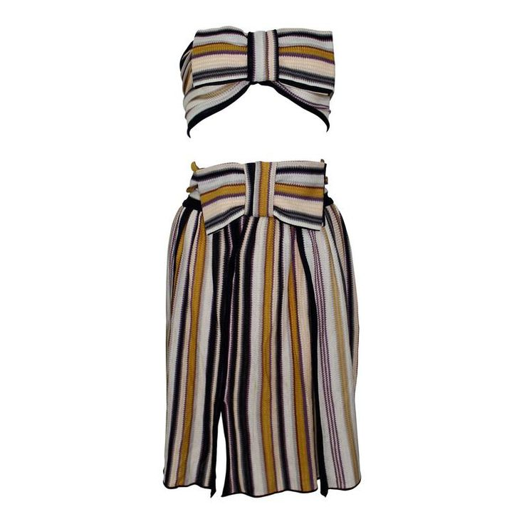 Missoni Bow Bandeau Top and matching Skirt Ensemble | From a collection of rare vintage day-dresses at https://www.1stdibs.com/fashion/clothing/day-dresses/